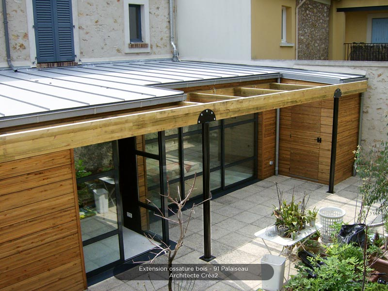 Giagnoni 91 maison ossature bois terrasse charpente for Agrandissement maison 59